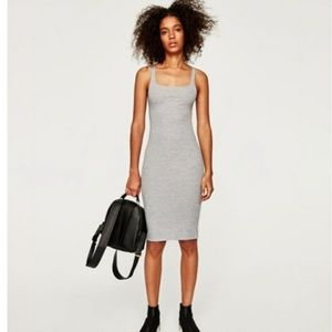 NEW Zara Light Gray Midi Bodycon Dress S